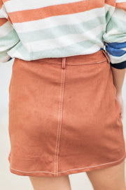Ridley Suede Pocket Skirt Brown