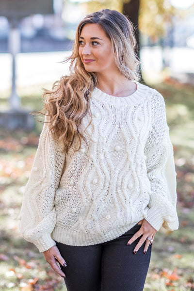 Dove Cable Pom Sweater Off White