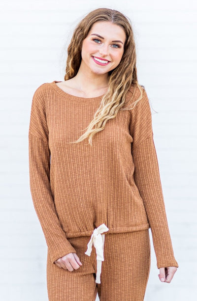 """Warm Embrace"" Ribbed Lounge Top Camel"