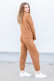 """Warm Embrace"" Ribbed Joggers Camel"