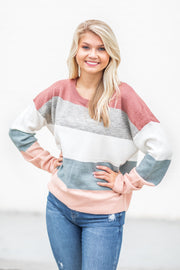 Kaia Multi Stripe Sweater Mauve/Grey