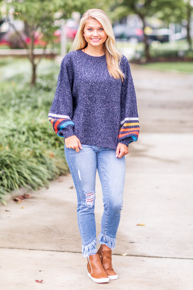 Maple Balloon Stripe Sleeve Sweater Navy