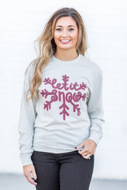 """Let It Snow"" Long Sleeve Graphic Tee"