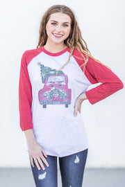 KY Christmas Truck Raglan Red