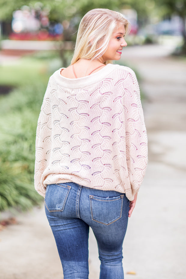 """Fall In The Air"" Knit Sweater Taupe"
