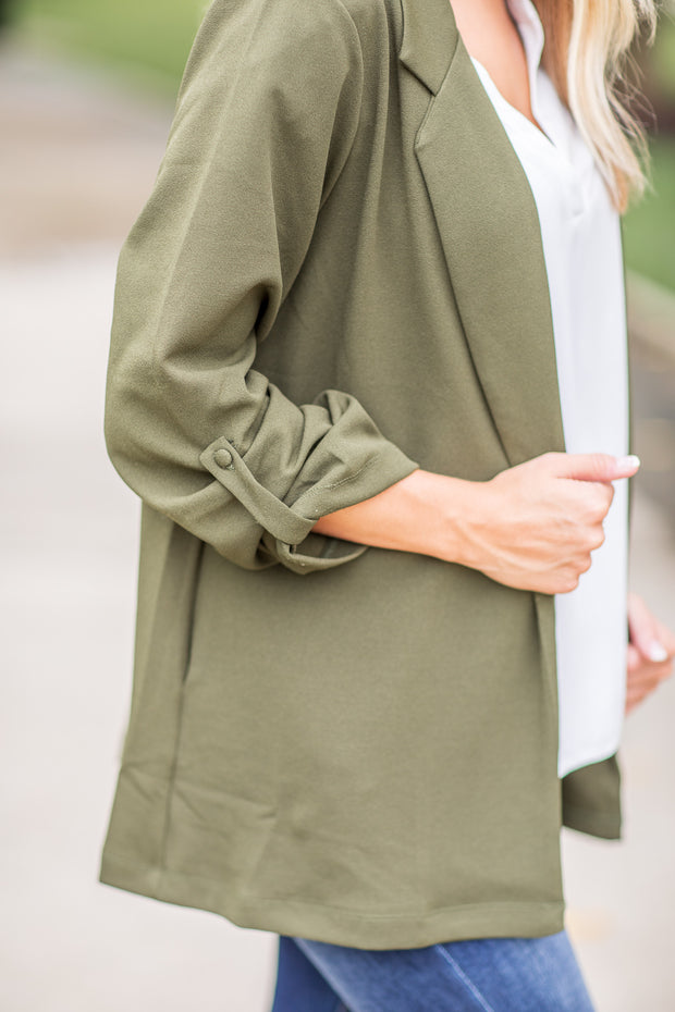 """Woman With A Plan"" Open Blazer Olive"