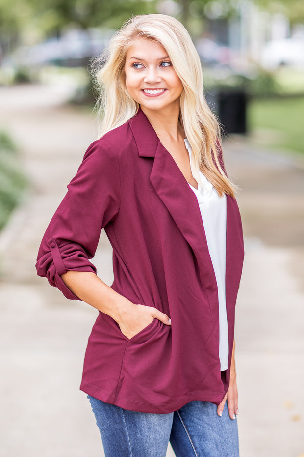 """Woman With A Plan"" Open Blazer Wine"