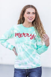 Merry Tie Dye Long Sleeve Graphic Tee