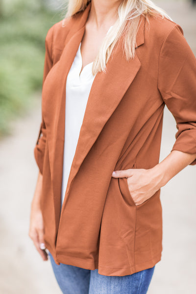 """Woman With A Plan"" Open Blazer Camel - FINAL SALE"