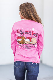 """Feliz Navi-Dog"" Simply Southern L/S T-Shirt Flamingo"
