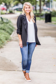 """Woman With A Plan"" Open Blazer Black"
