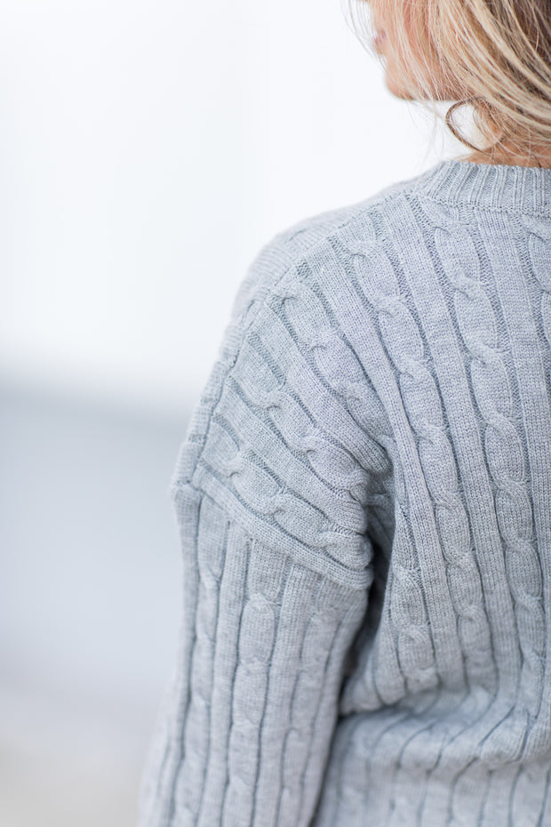 Alice Cable Knit Sweater Grey