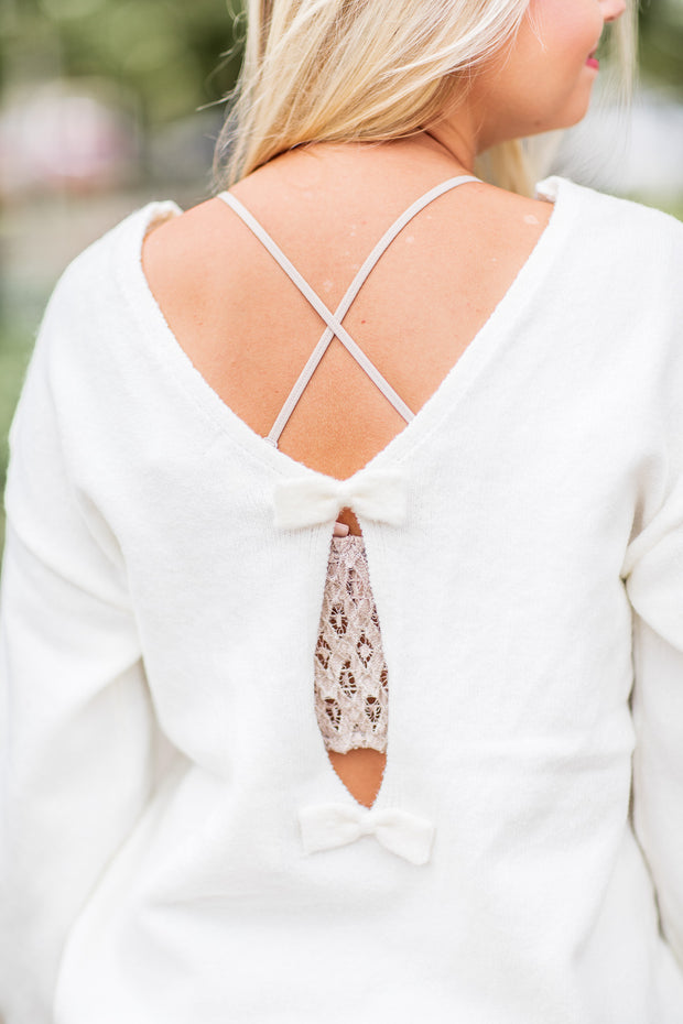 Ellie Bow Detail Sweater Ivory