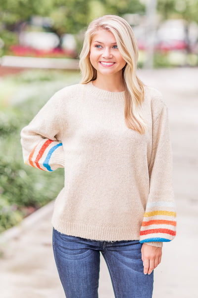 Maple Balloon Stripe Sleeve Sweater Taupe