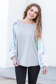 """In The Clouds"" Tie Dye Top Grey"