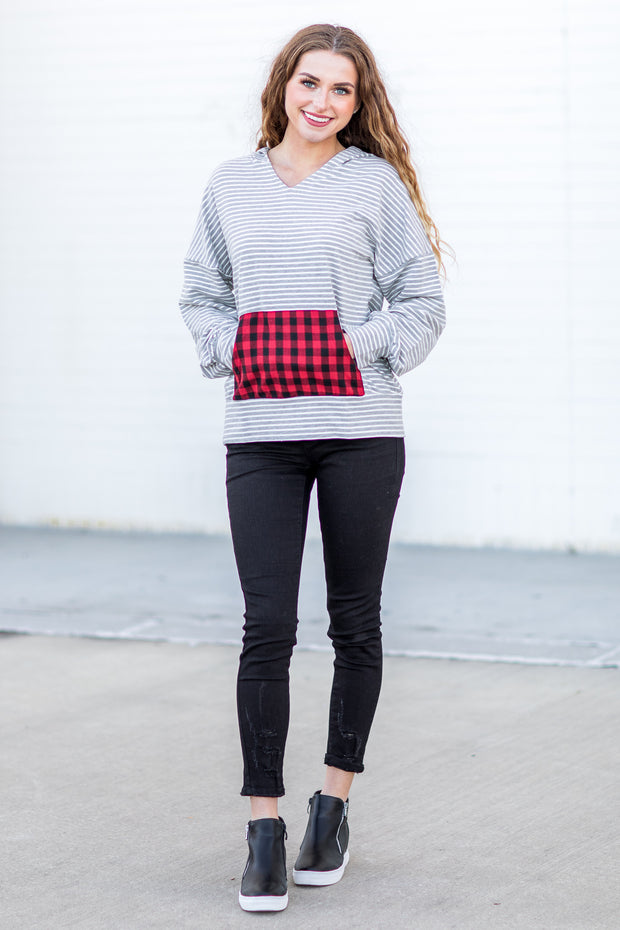 Noella Striped Buffalo Plaid Hoodie