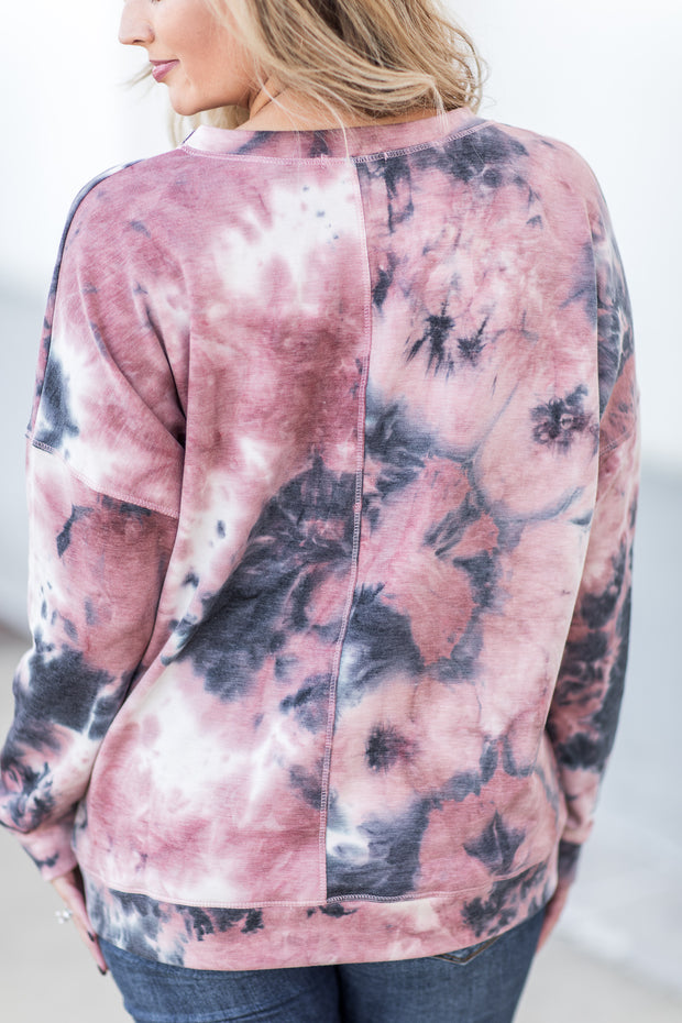 """All Good Things"" Tie Dye Long Sleeve Top Mauve/Navy"
