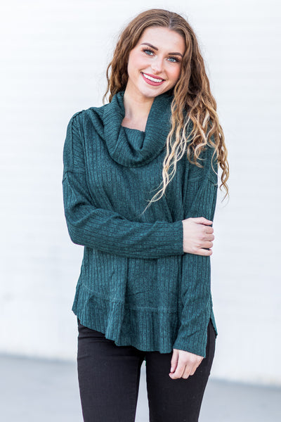 Candace Mock Neck Top Green