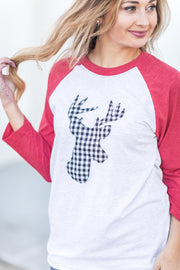 Buffalo Plaid Deer Raglan Red
