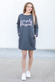 """Simply Blessed"" Simply Southern Warmy Dress Grey"