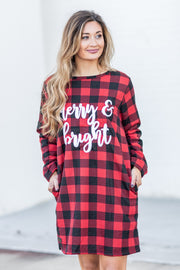 """Merry & Bright"" Simply Southern Warmy Dress Plaid"