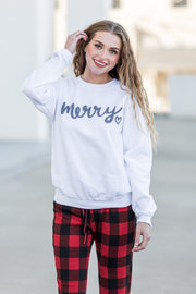 Merry Heart Crew Sweatshirt Ivory