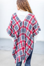 """Home For The Holidays"" Plaid Wrap Poncho"