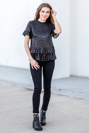 """Ring It In"" Sequin Peplum Top Black"