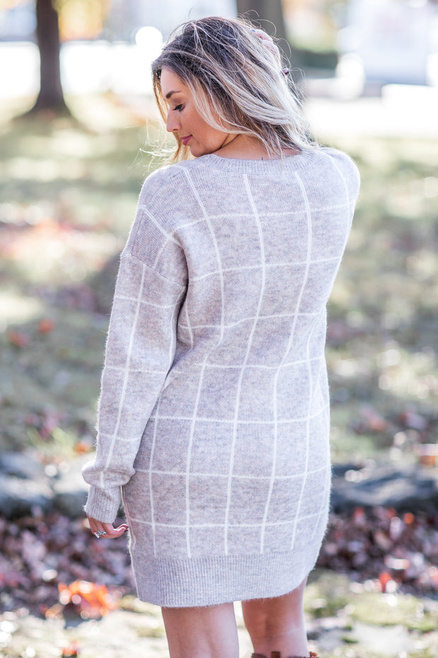 Alyssa Grid Sweater Dress Taupe