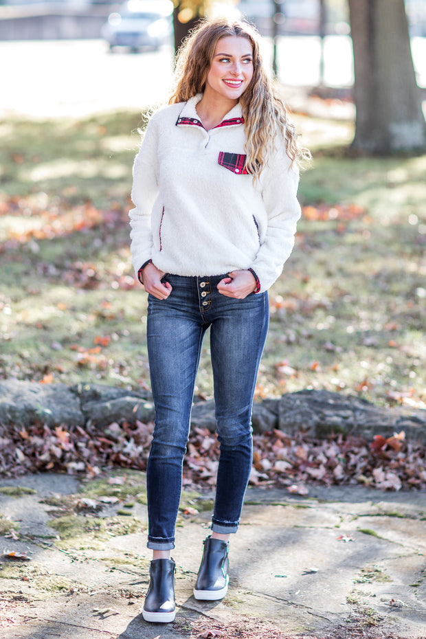 """Let It Go"" Pullover Ivory & Buffalo Plaid"