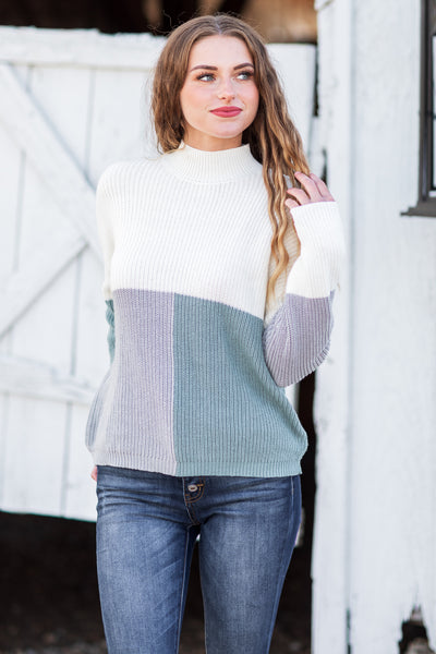 Delta Color Block Sweater Ivory/Teal