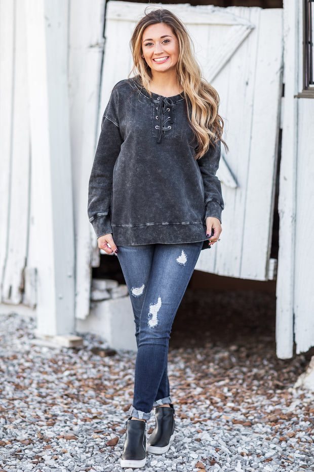 Derby Lace Up Tunic Black