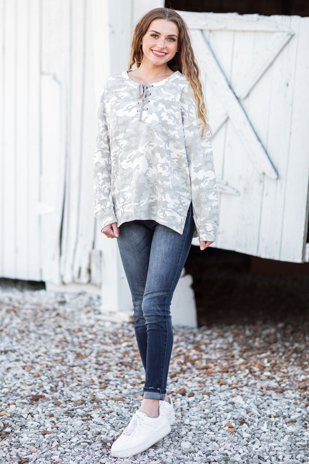 Derby Lace Up Tunic Camouflage