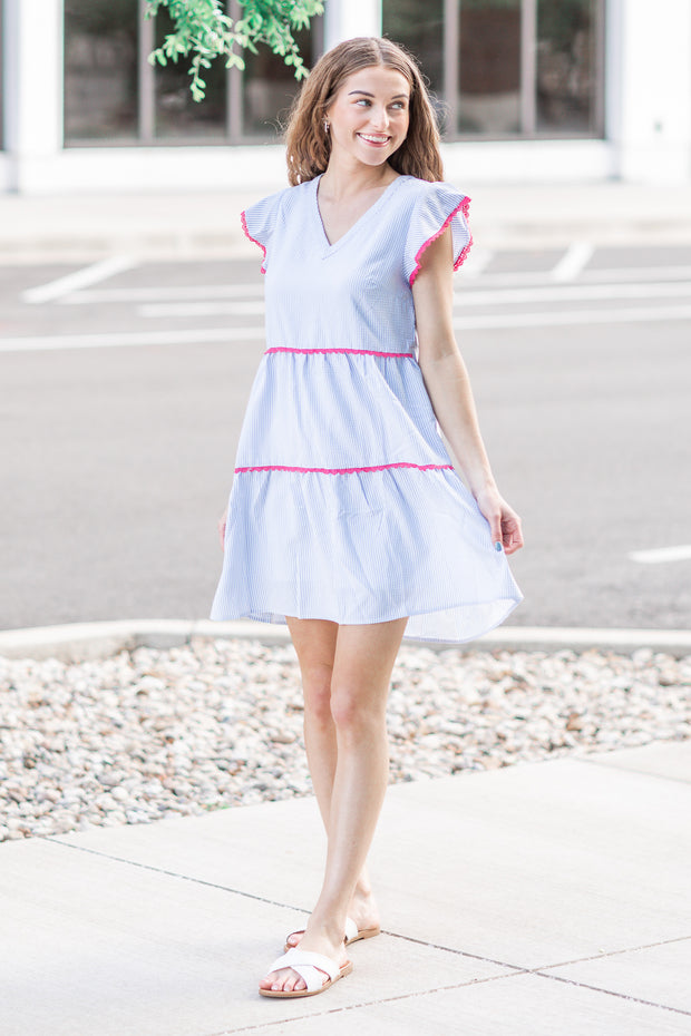 Mia Seersucker Ruffle Dress Light Blue