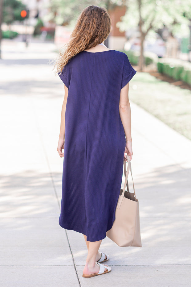 Payton Ribbed Maxi Dress Navy