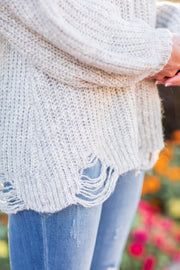 """No Better Feeling"" Distressed Knit Sweater Oatmeal"