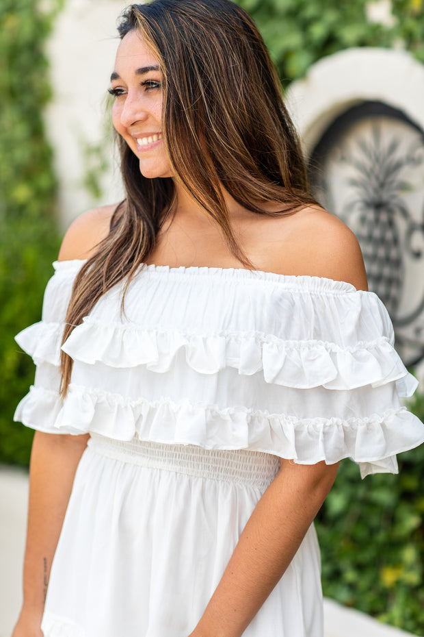 """All Your Love"" Ruffled Off Shoulder Romper White"