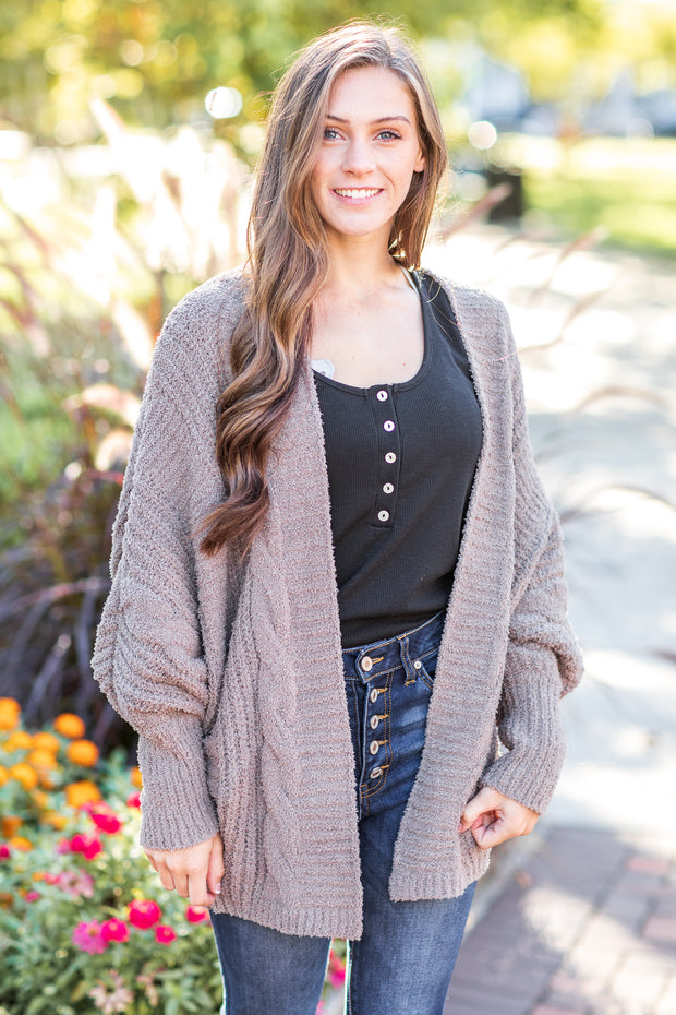 """Crisp and Cozy"" Fuzzy Cardigan Brown"
