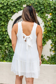 Olivia Bow Back Dress White/Gold