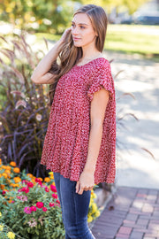 Sallie Floral Babydoll Top Rust - FINAL SALE