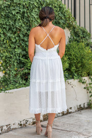 Paris Swiss Dot Midi Dress Off White