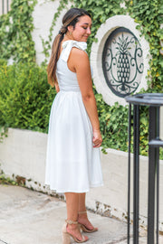 Serena One Shoulder Midi Dress Off White