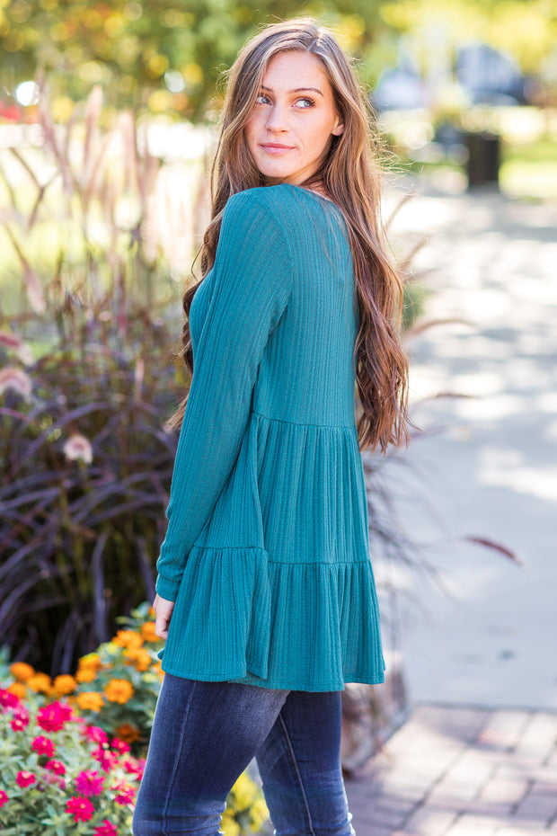 Tess Ruffle Top Teal - FINAL SALE