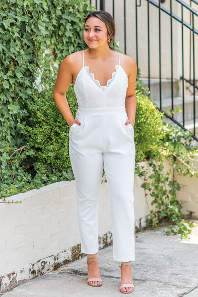 Charlotte Lace Jumpsuit Off White