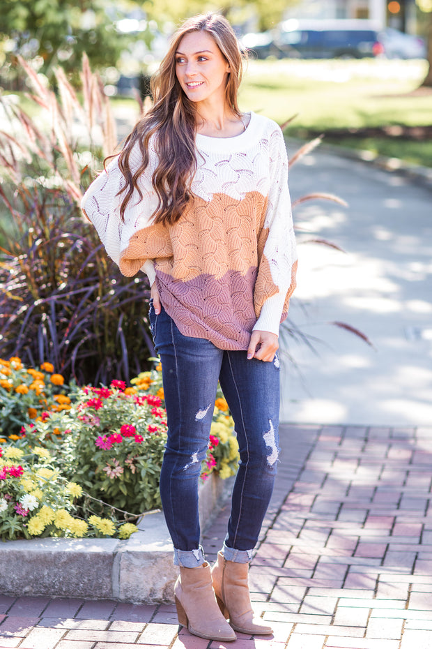 Sedona Color Block Knit Sweater Ivory/Mocha