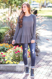 Tess Ruffle Top Charcoal - FINAL SALE