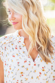 Amber Floral V-Neck Blouse - FINAL SALE