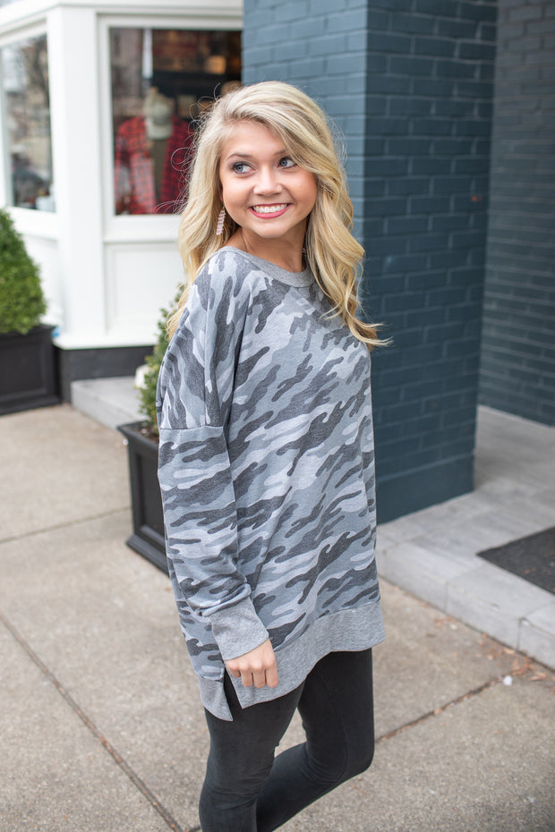 """Let's Wander"" Camo Sweatshirt Grey"