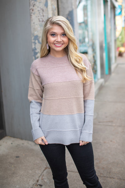 Adair Textured Color Block Sweater Taupe/Grey - FINAL SALE