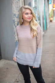 Adair Textured Color Block Sweater Taupe/Grey